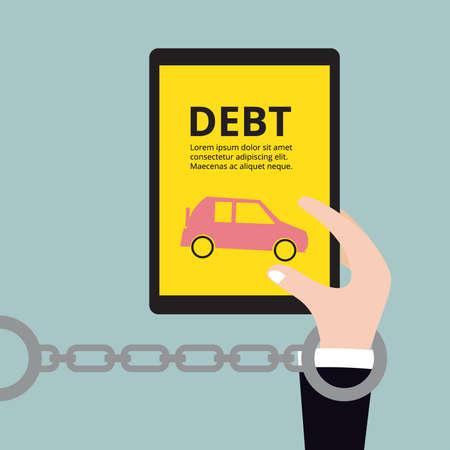 liabilities: Business holding car, Debt concept vector