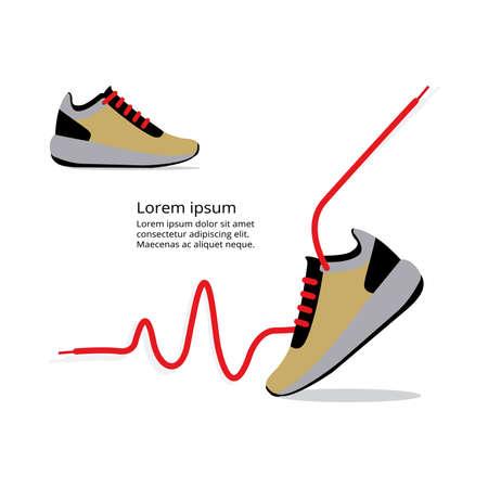 running shoes vector, EKG red line heart Illustration