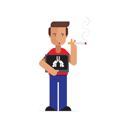 Man smoking with x-ray lung