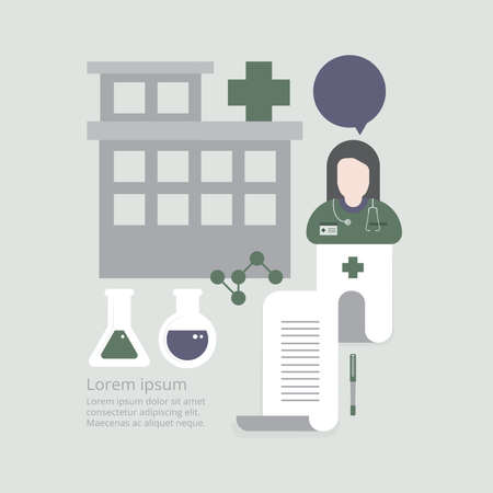 Doctor in hospital with health insurance related icons in modern graphic interface showing symbol of healthcare person, money saving, medical treatment and benefits,Vector Design