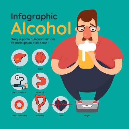 Infographics Detail of danger and risk from alcohol with alcoholism Illustration