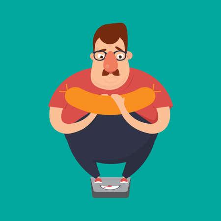 Fat man drinking a jar of sausage