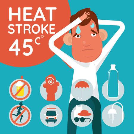 symptômes et prévention infographie sur les soins de santé sur le signe de risque de coup de chaleur