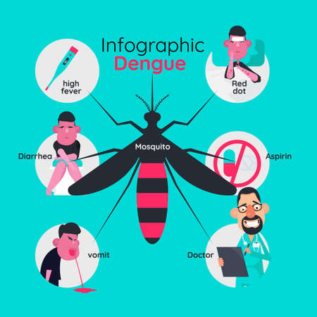 Infographics template design of details about dengue fever and symptoms with prevention.