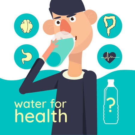 water for health. health care poster concept Illustration