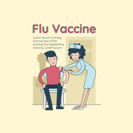 Young happy smiling doctor vaccinating a hipster man against flu.