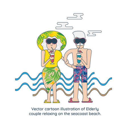 Vector cartoon illustration of Elderly couple relaxing on the seacoast beach.
