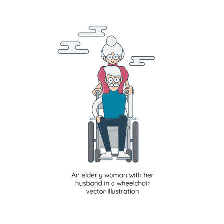 An elderly woman with her husband in a wheelchair vector illustration