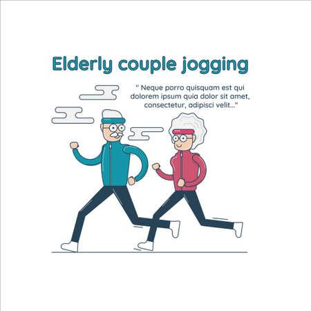 Elderly couple jogging, vector illustration