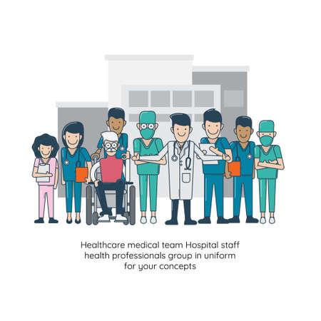 Healthcare medical team Hospital staff health professionals group in uniform for your concepts. Vector illustration Illustration