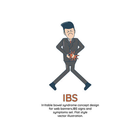 Irritable bowel syndrome concept design for web banners,IBS signs and symptoms set. Flat style vector illustration. Illustration