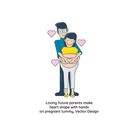 Loving future parents make heart shape with hands on pregnant tummy, Vector Design