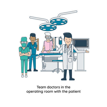 Team doctors in the operating room with the patient Illustration