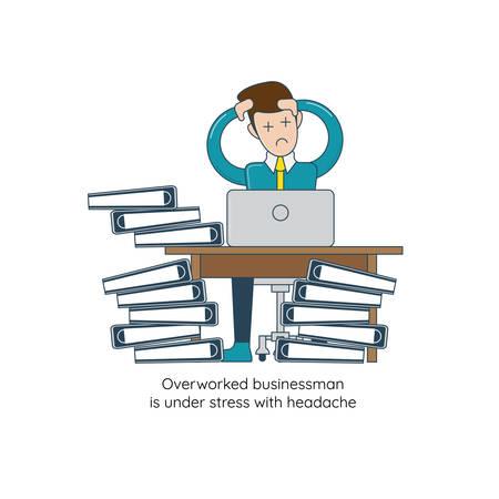 Overworked businessman is under stress with headache