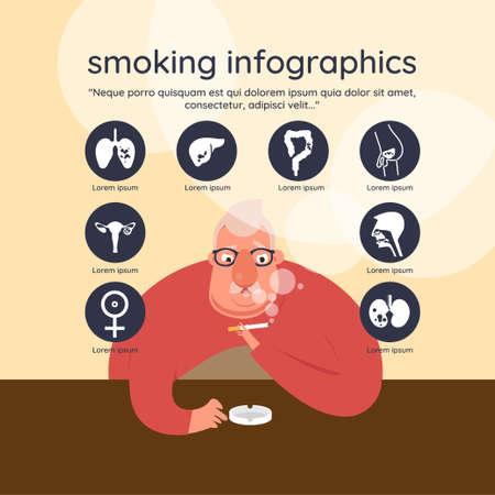 Dangers of smoking infographics.vector illustration