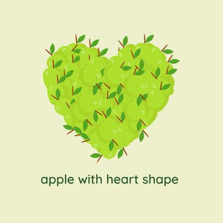 apple with heart shape Illustration