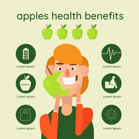 Graphic vector illustration of beautiful hand drawn infographics with apples health benefits  Illustration