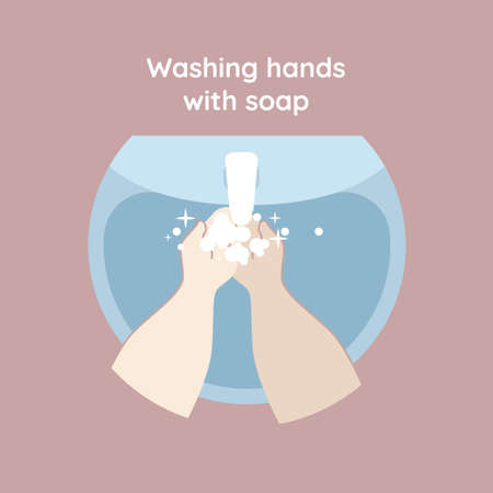 Washing hands with soap. Handwashing. Clean arm in foam bubbles. Personal hygiene. Faucet, tap with water isolated on background. Disinfection, skin care. Vector illustration.