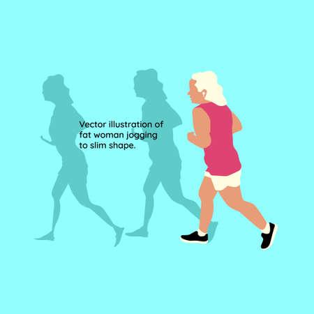 Vector illustration of fat woman jogging to slim shape.