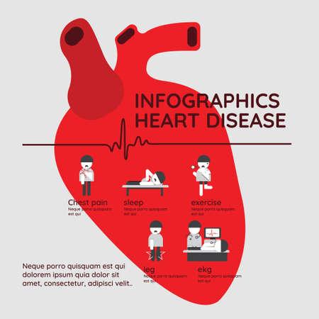 Infografía. Síntomas de enfermedad cardíaca y dolor agudo posible ataque cardíaco con prevención. Ilustración de vector