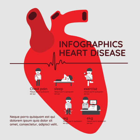 Infographics. Symptoms of heart disease and acute pain possible heart attack with prevention. Иллюстрация