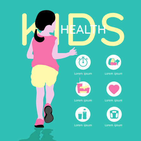 Healthy lifestyle tips for kids infographic Illustration