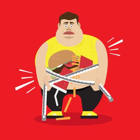 fat man with hamburger and soda