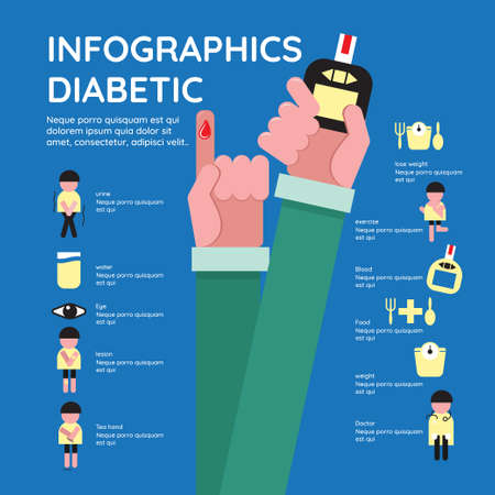 diabetic infographic health care concept vector flat icons design. brochure poster banner illustration.