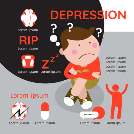 Depression signs and symptoms infographic concept.