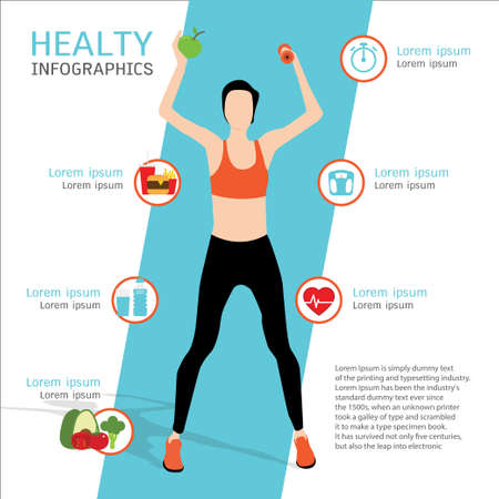 Attractive female athlete holding a dumbbell and green apple. healty infographics