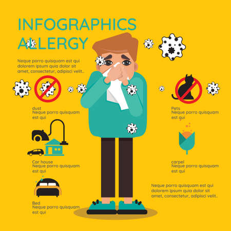 Allergy Infographic Set. Allergy Symptoms Information. Allergy Treatment Flat Set.