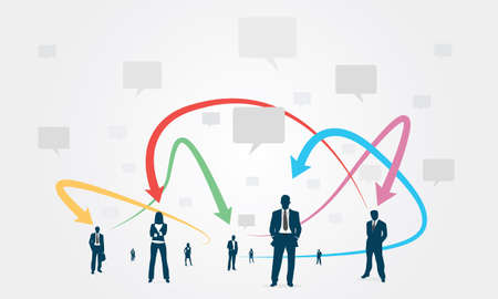 group communication: Social group Communication Business Illustration