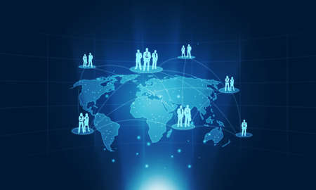 conection: Business conection people on global background Stock Photo