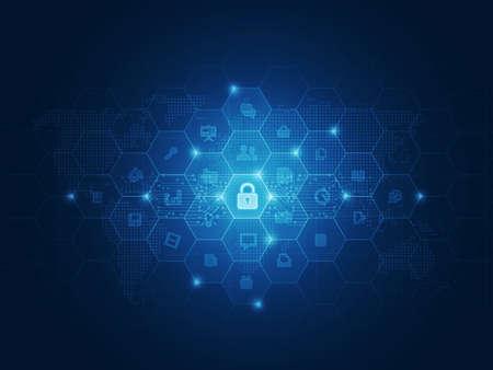 Internet beveiliging van gegevens concept achtergrond Stockfoto