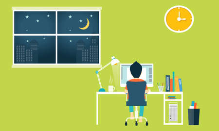 workspace: Flat workspace of home office