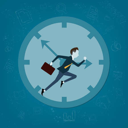 sports activity: Vector business man competitive with business time background