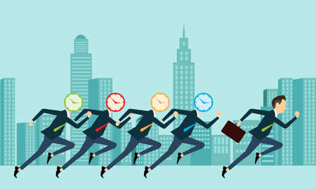 competitive business: Vector business people competitive with business time Illustration
