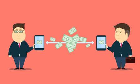 E- business people online internet mobile transaction vector Illustration