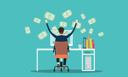 vector people earning business online background Vector