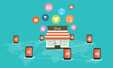 internet shopping: Mobile internet shoping online vector background