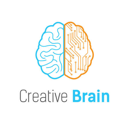 Brain vector logo design template Vettoriali
