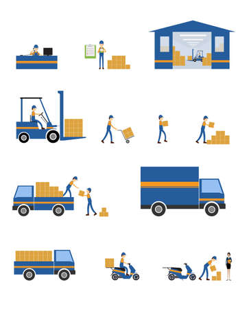shipping container: vector character logistic and shipping business teamwork