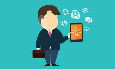 携帯電話で e ビジネスを使用してベクトル ビジネス人  イラスト・ベクター素材