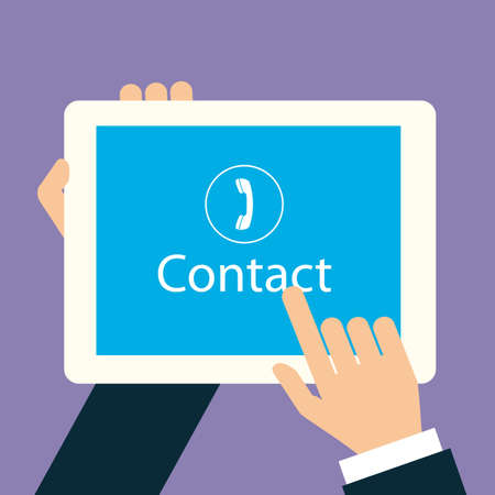 flat hand touch contact on tablet device Vector