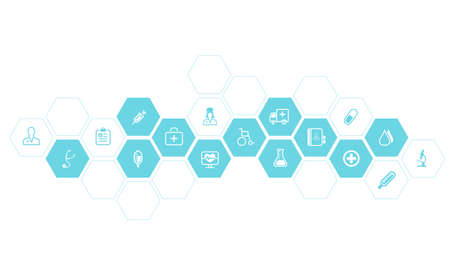computer network diagram:  Medical and health icons vector background Illustration