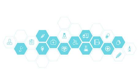 Medische en gezondheidszorg iconen vector achtergrond