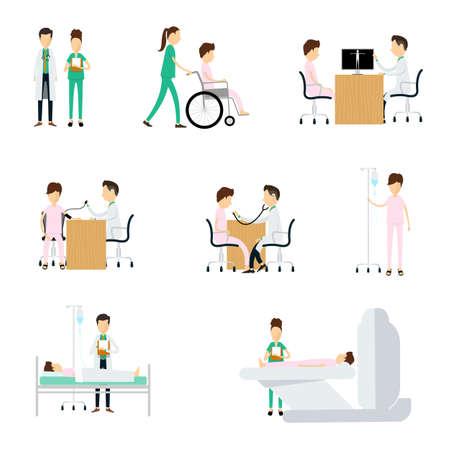 consulta médica: Carácter médico del hospital en el fondo blanco
