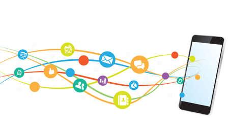 Comunicación Smartphone conexión a Internet de fondo