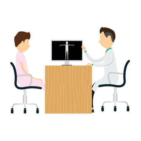patients: Doctors diagnosis patients Medical and science vector Illustration