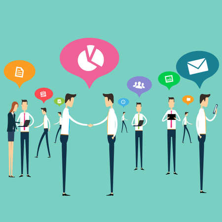 corporate social: People work business communications connection vector